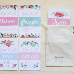 Twin Milestone & Moment Floral Collection Milestone Cards Blossom and Pear
