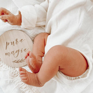 Etched Wooden Baby Milestone Collection - Set of 14 - 10cm