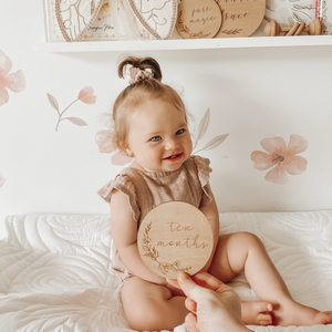 Floral Etched Wooden Baby Milestone Collection - Set of 14 - 10cm