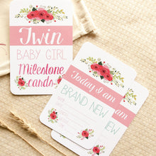 Load image into Gallery viewer, Twin Milestone & Moment Floral Collection Milestone Cards Blossom and Pear
