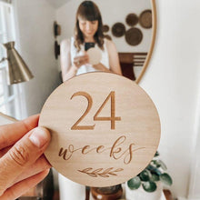 Load image into Gallery viewer, Etched Wooden Pregnancy Milestone Collection - Set of 14 - 10cm
