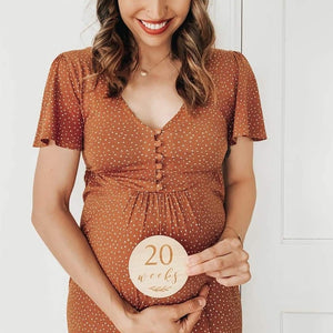 Etched Wooden Pregnancy Milestone Collection - Set of 14 - 10cm