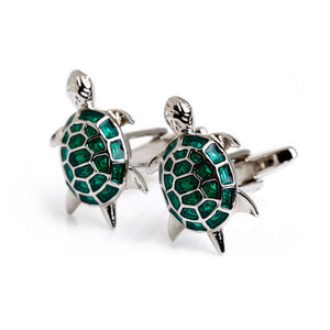 Exquisite Turtle Cufflinks - Standard Cufflink - Green - Front View