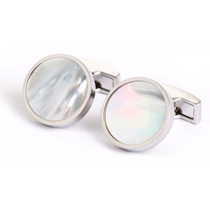 Level Mother of Pearl Cufflinks - Standard Cufflink - Front View
