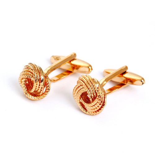Regal Knot Cufflinks - Standard Cufflink - Gold - Front View