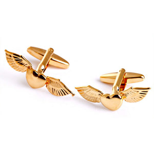 Winged Heart Cufflinks - Standard Cufflink - Gold - Front View