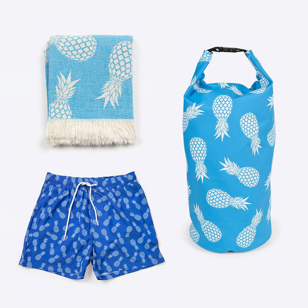 Ananas Bade Set Blau (Pineapple Swimshort Package)