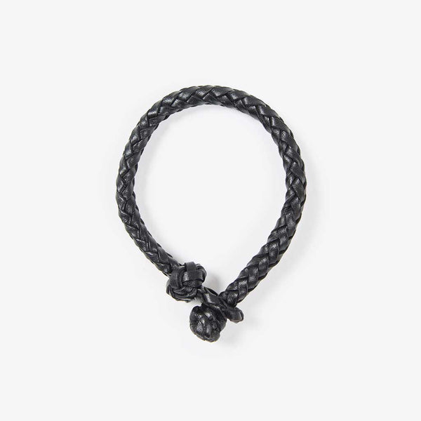 Geflochtenes Lederarmband Schwarz (Braided Leather Bracelet Black)