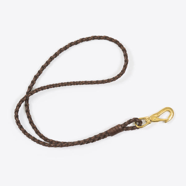 Braided Leather Lanyard Brown