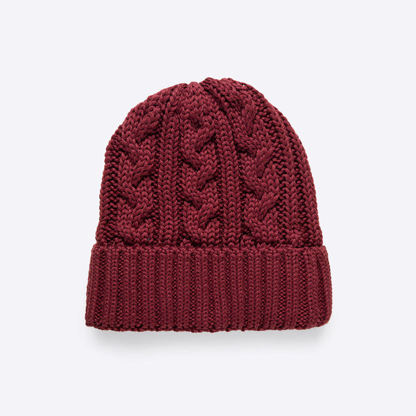 Cable Stitch Beanie Bordeaux