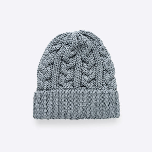 Cable Stitch Beanie Light Grey