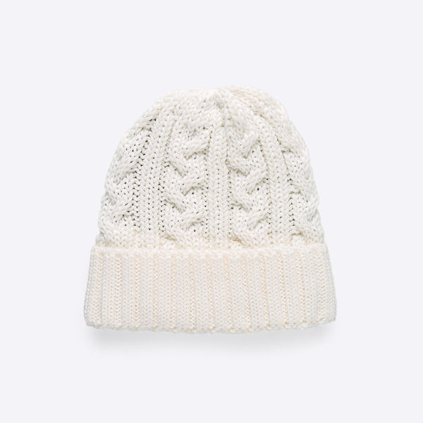 Cable Stitch Beanie Offwhite
