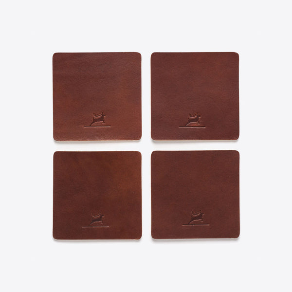 Leather Coasters Brown