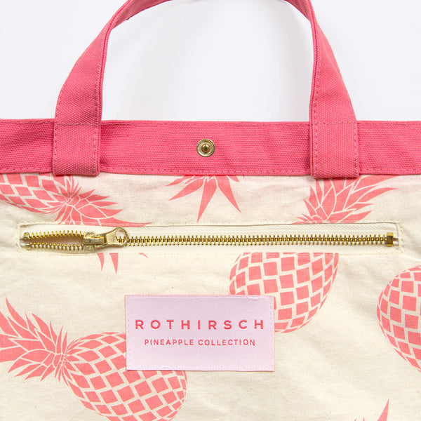 Ananas Freizeittasche Pink (Pineapple Waxed Cotton Shopper Pink)