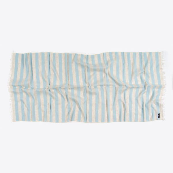 Striped Cotton and Linen Scarf Blue