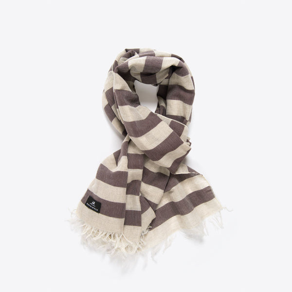 Striped Cotton and Linen Scarf Coffee
