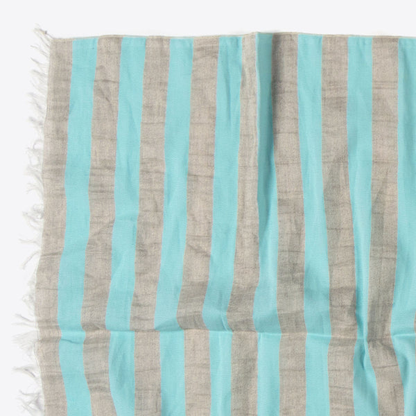Striped Cotton and Linen Scarf Mint