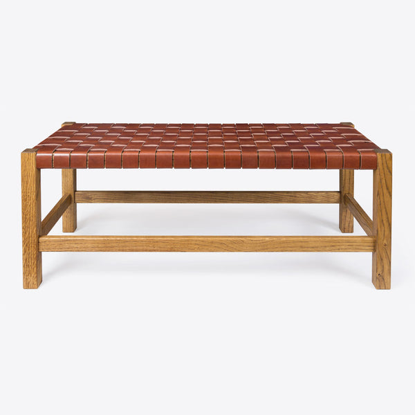 Geflochtener Lederbank Braun (Woven Leather Bench Brown)