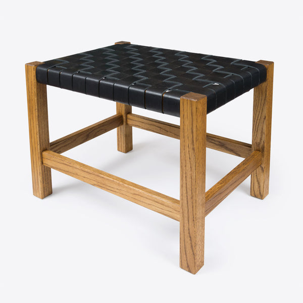 Geflochtener Lederhocker Schwarz (Woven Leather Stool Black)