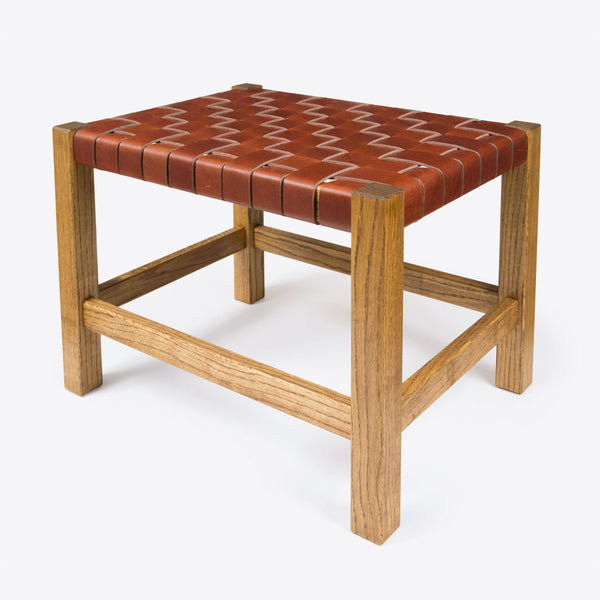Woven Leather Stool Brown