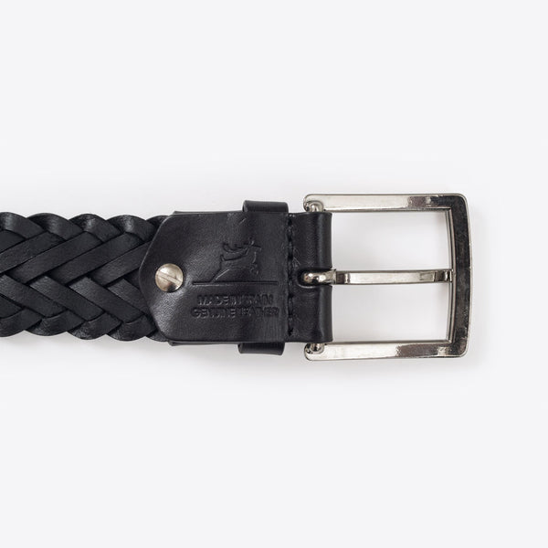 Geflochtener Ledergürtel Schwarz (Braided Leather Belt Black)