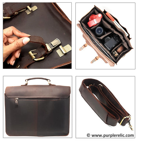 large leather office bag brown