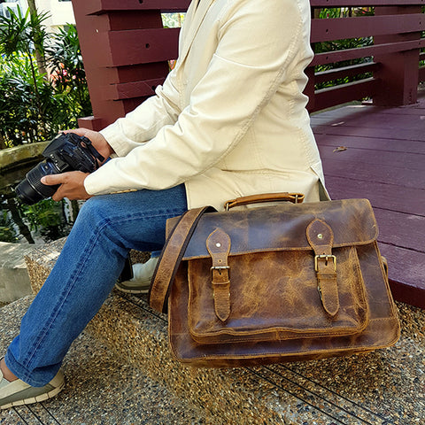 purple relic camera bag genuine leather camera briefcase office messenger satchel