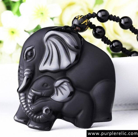 Elephant Obsidian Amulet Beaded Necklace Pendant