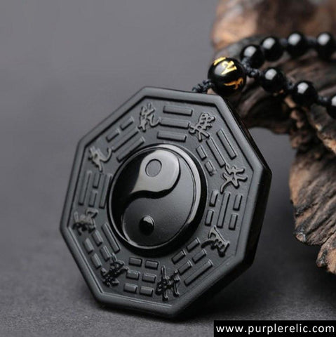 Feng Shui Yin Yang Obsidian Pendant and Beaded Necklace