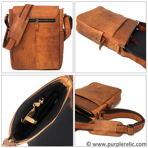 Purple Relic Leather Messenger Bag