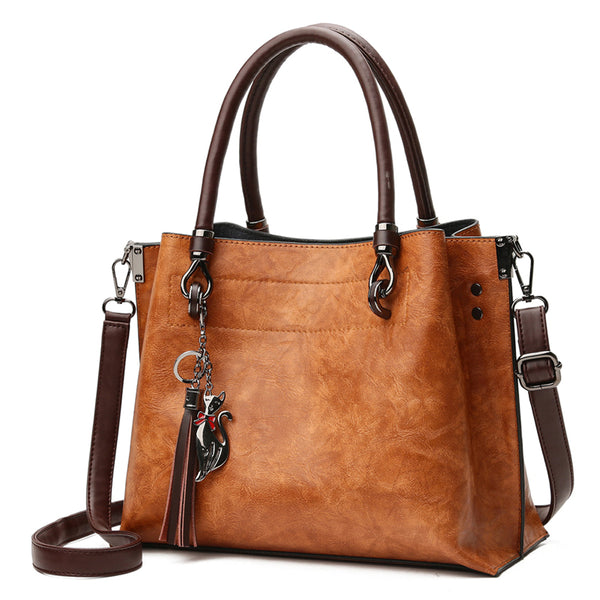 Ladies' Tassel Tote Purse - Vegan Leather Top-Handle Handbag