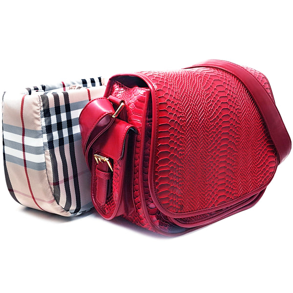 red croc skin saddle camera bag with handbag organizer insert case