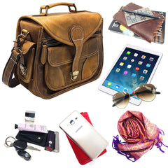 DSLR Leather Camera Bag - Travel Vintage Shoulder Bag with Removable Insert
