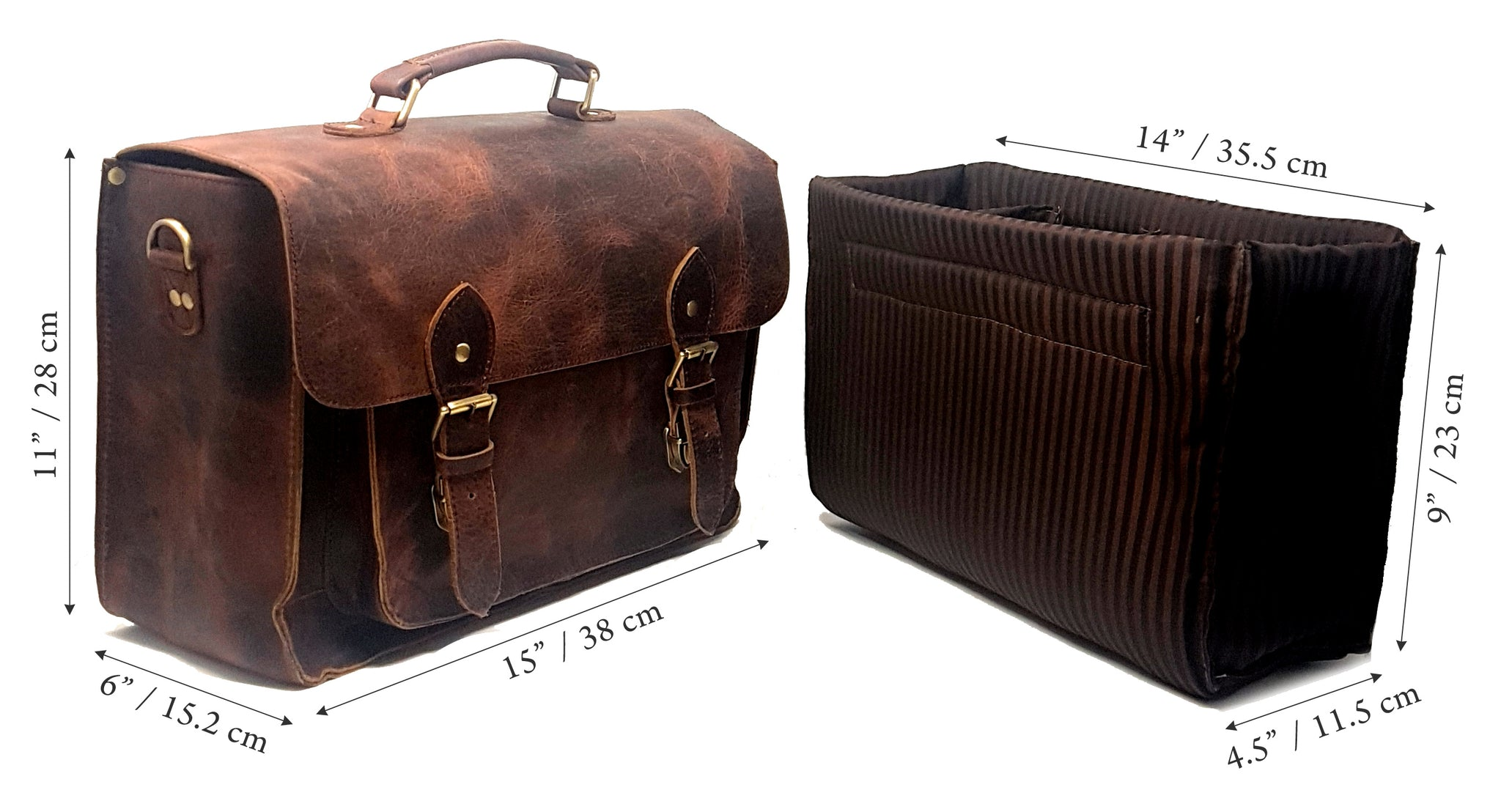 vintage brown leather briefcase DSLR bag with padded camera insert