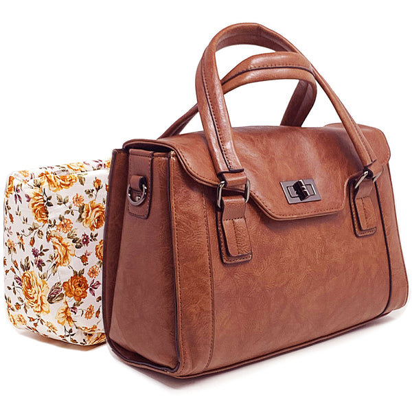 DSLR Camera Bag for Women - Brown Top Handle Ladies Party Handbag with Removable Camera Case