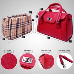 red top handle purse with insulated insert case