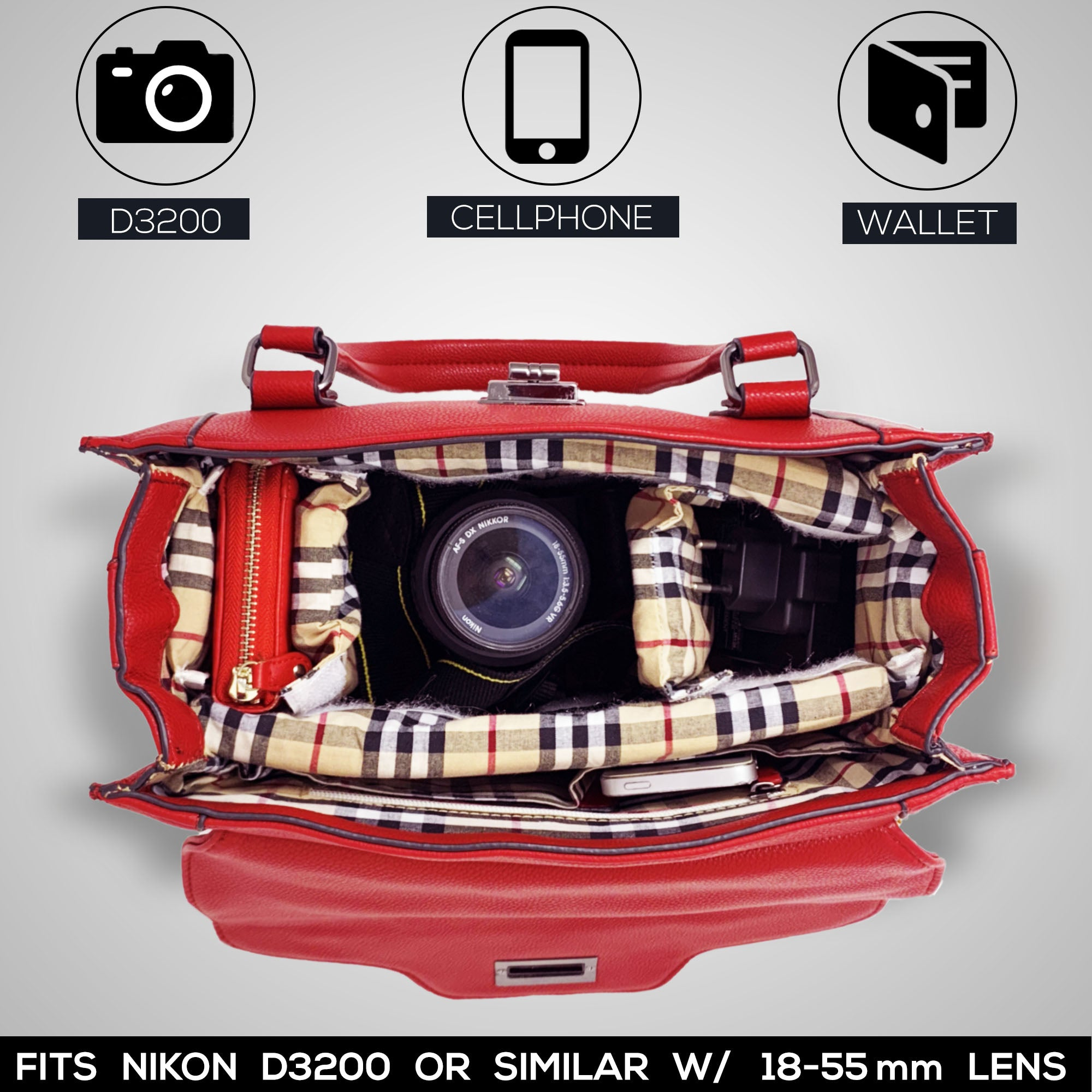 women camera case with DSLR body, lens, wallet and cellphone