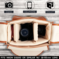 DSLR Vegan Leather Camera Bag - Travel Vintage Shoulder Bag with Removable Insert