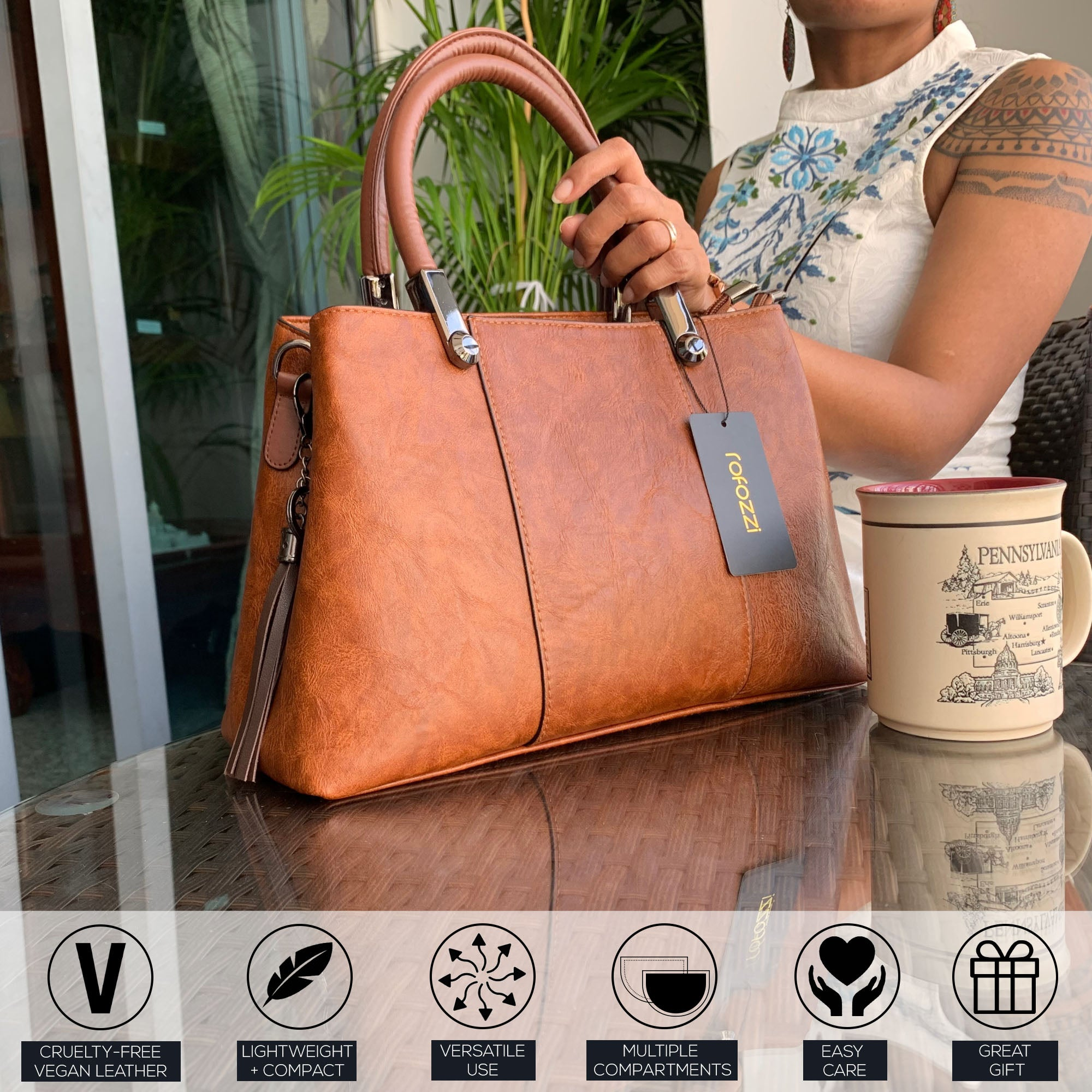 Vegan leather top handle purses and handbags by Purple Relic Rofozzi