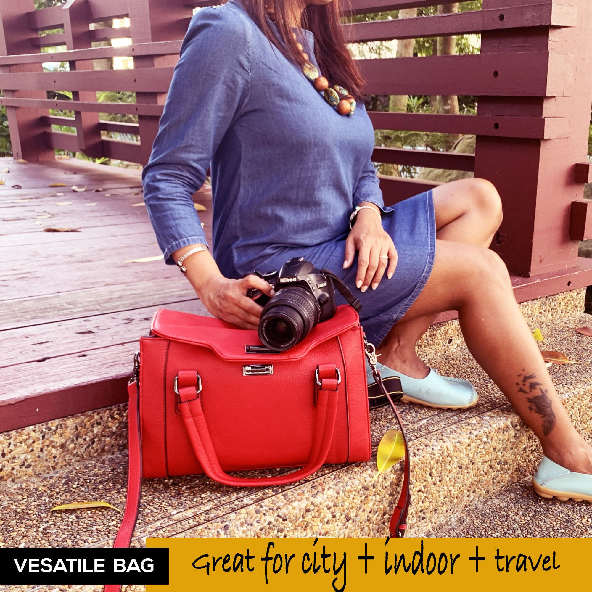 red ladies handbag showing nature photography Purple Relic camera bag for women