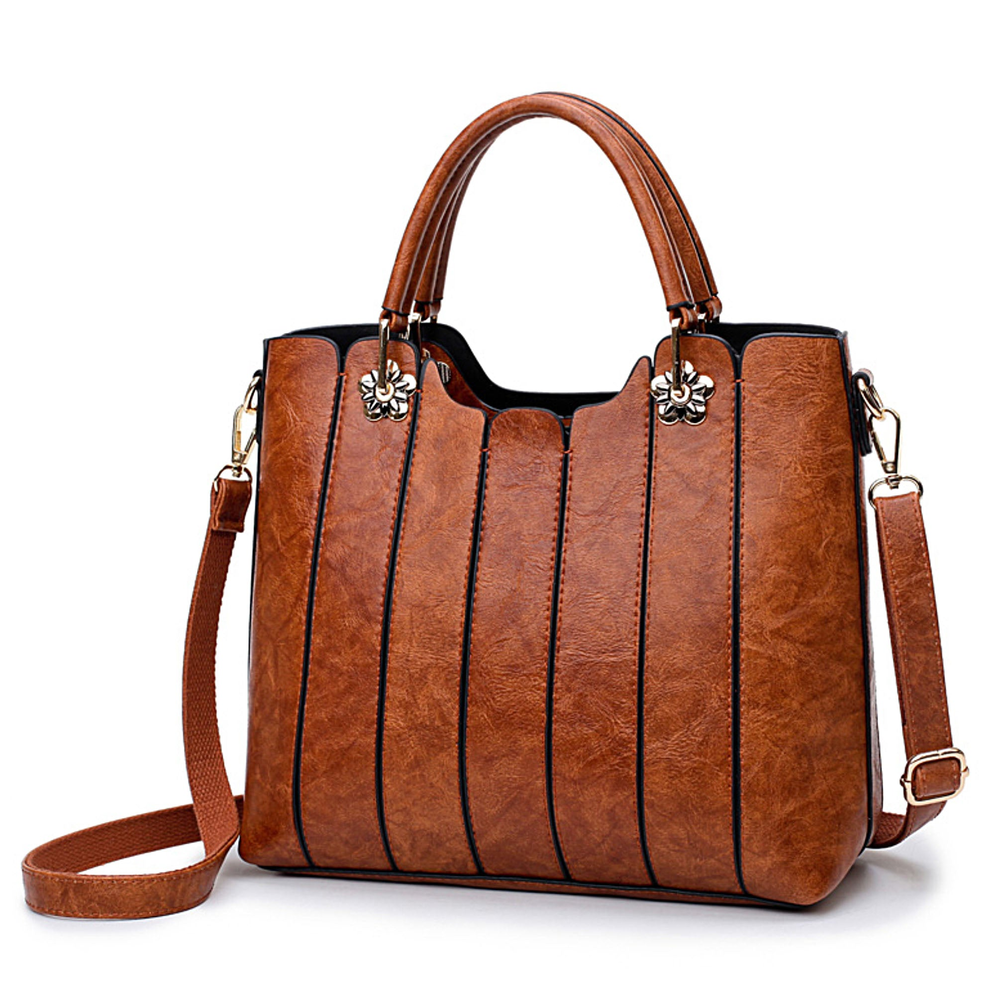 Leather Bag with Top Handles - Women Handbag and Purse