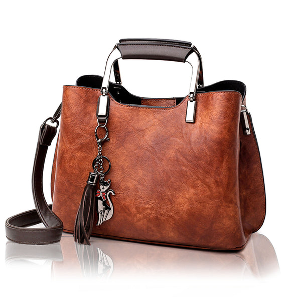 Vegan Leather Handbag and Purse for Women - Small Ladies Top-Handle Bag with Tassle