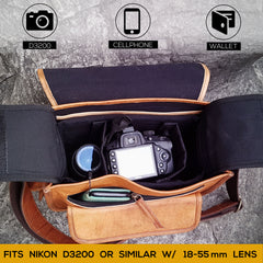 Brown Raw Leather Camera Bag