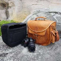 Leather camera bag with removable canvas insert case
