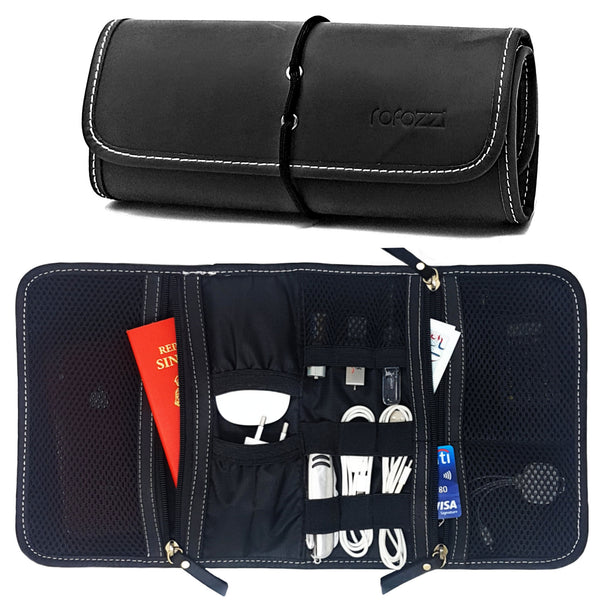 Leather Travel Passport, Cables and Tech Organizer