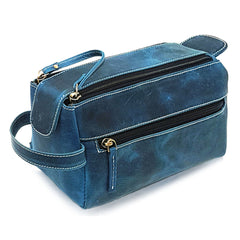 blue leather toiletry bag by Purple Relic