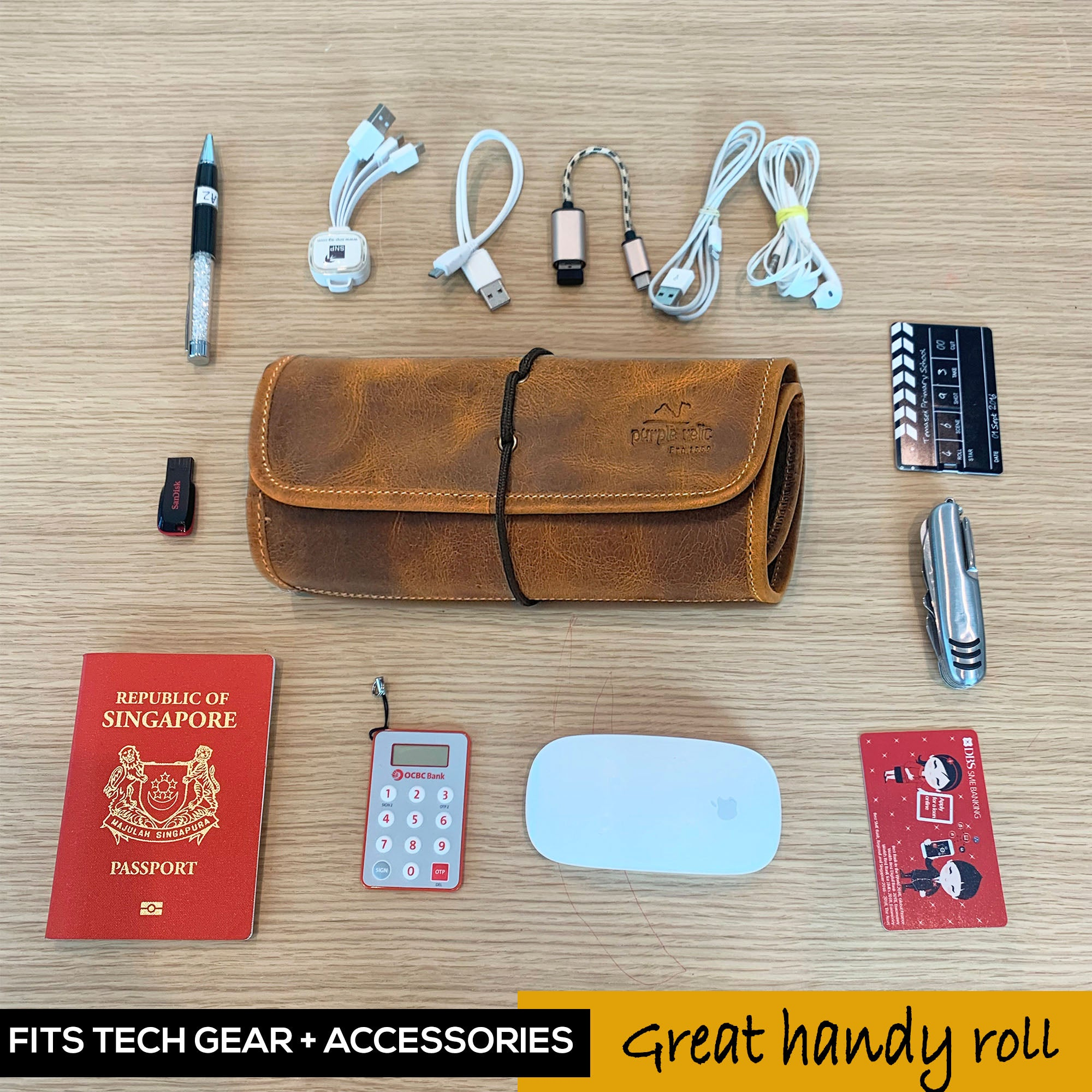 Leather Travel Cable Organizer Bag and Passport Wallet