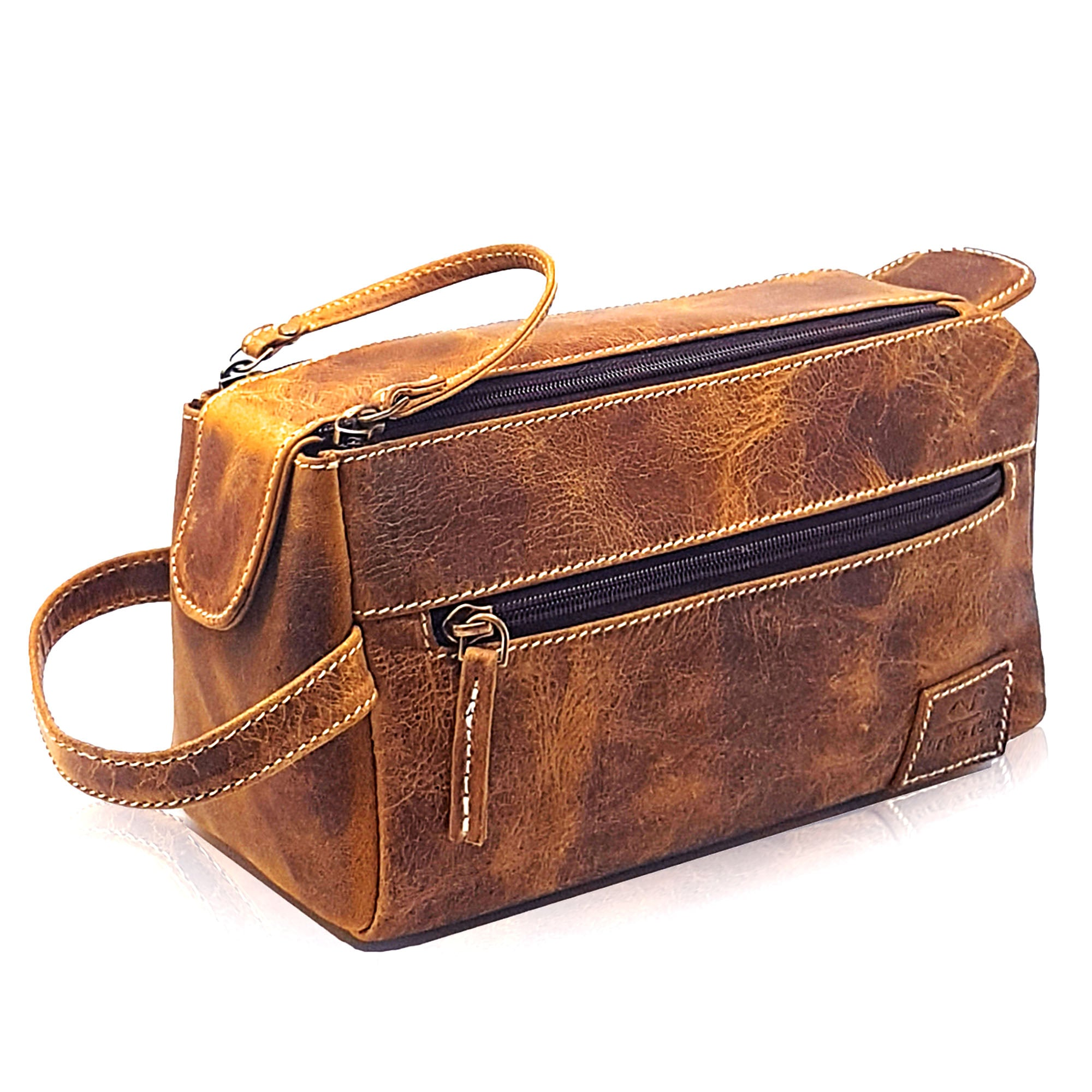brown leather toiletry bag by Purple Relic
