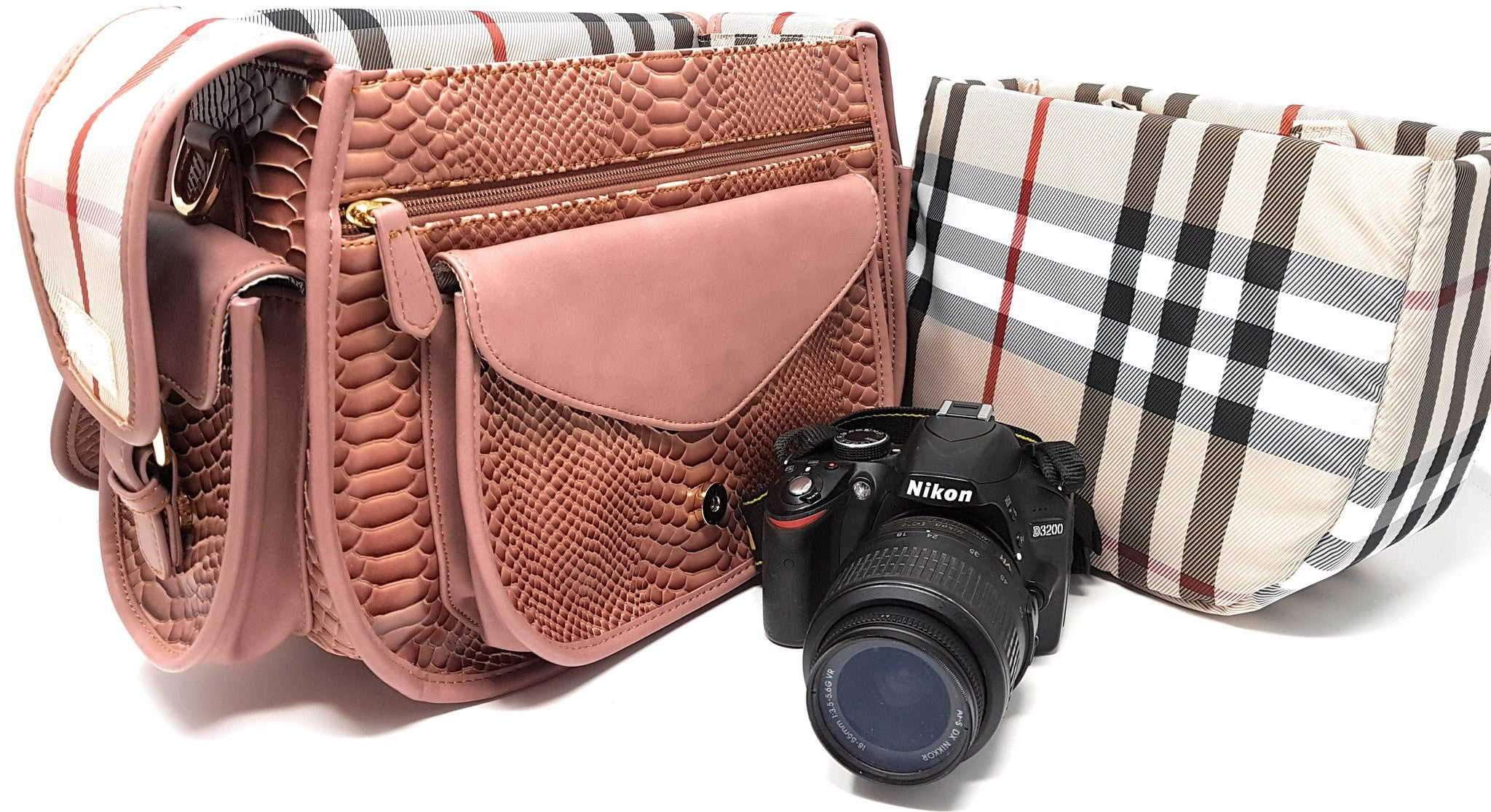 Camera Bags - Purple Relic: Camera DSLR Faux Snake Skin Saddle Bag With Padding; Removable Insert; Fits Standard Size DSLR With Lens For Canon Nikon Sony;