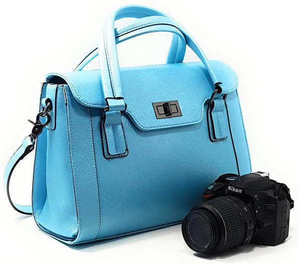 Camera Bags - PURPLE RELIC: DSLR Camera Bag For Women ~ 8-Pocket Top Handle Ladies Party Handbag With Removable Camera Case (Blue)